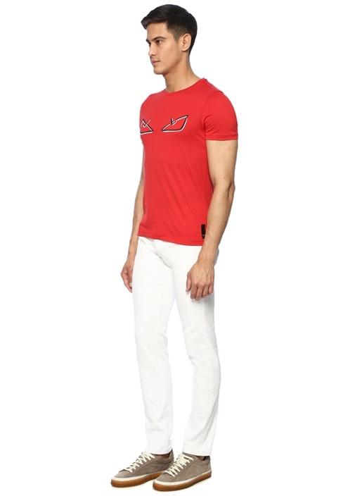 Kırmızı Canavar Göz Patchli Basic T-shirt