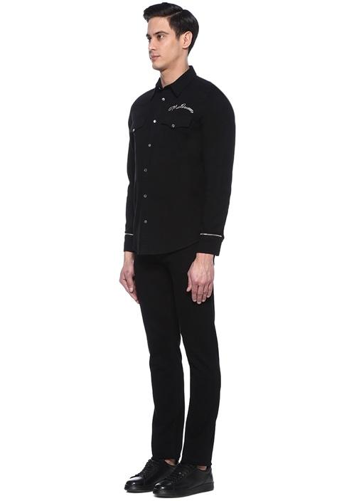 Siyah Logo Nakışlı İngiliz Yaka Denim Gömlek