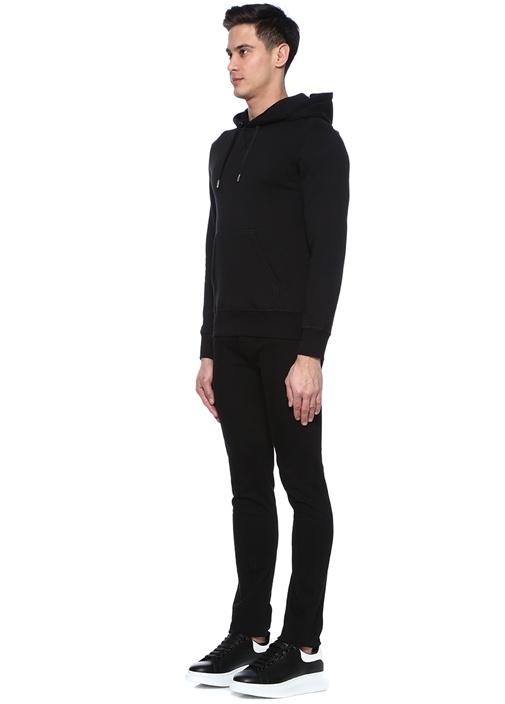 Siyah Kapüşonlu Arkası Fermuarlı Sweatshirt