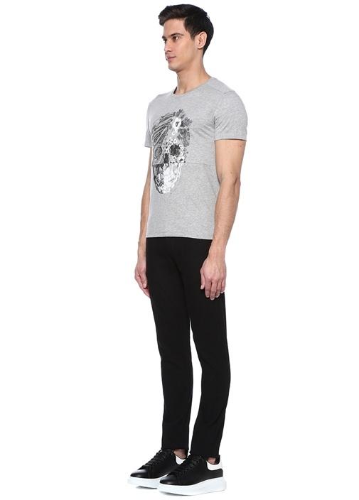 Gri Kuru Kafa Baskılı Çiçek Desenli Basic T-shirt