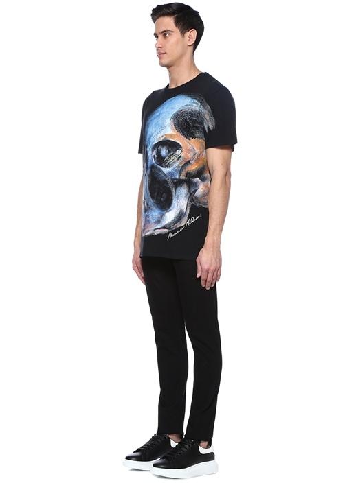 Siyah Kuru Kafa Baskılı Basic T-shirt