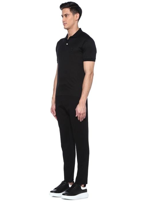 Siyah Polo Yaka Kuru Kafa Patchli T-shirt