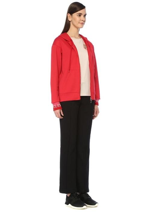 Kırmızı Kapüşonlu Şerit Logo Jakarlı Sweatshirt