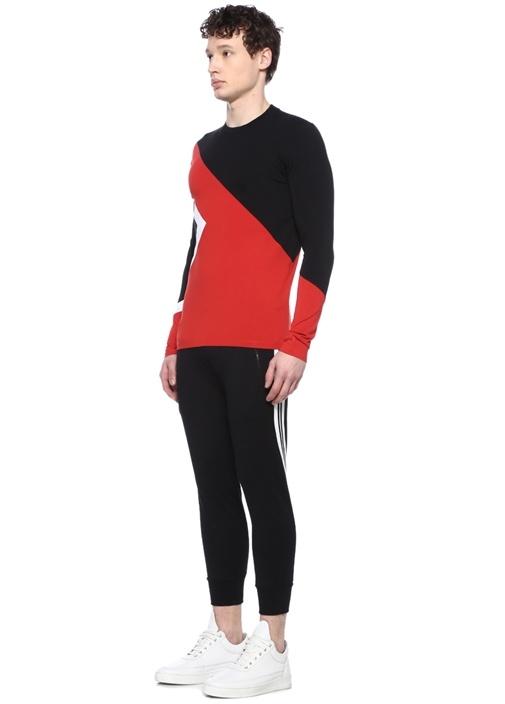 Kırmızı Siyah Bisiklet Yaka Sweatshirt