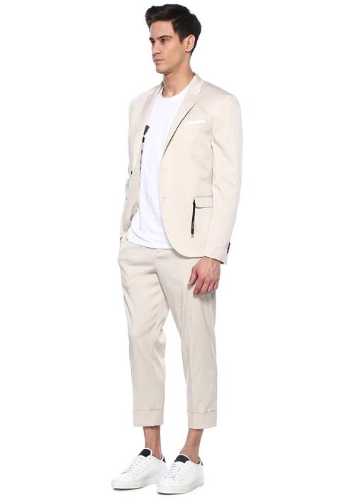 Slim Fit Ekru Kırlangıç Yaka Ceket
