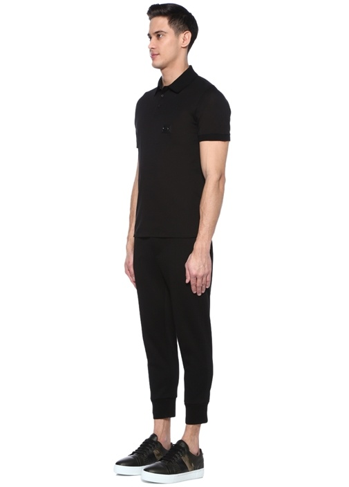 Skinny Fit Siyah Dekoratif Dikişli Pantolon