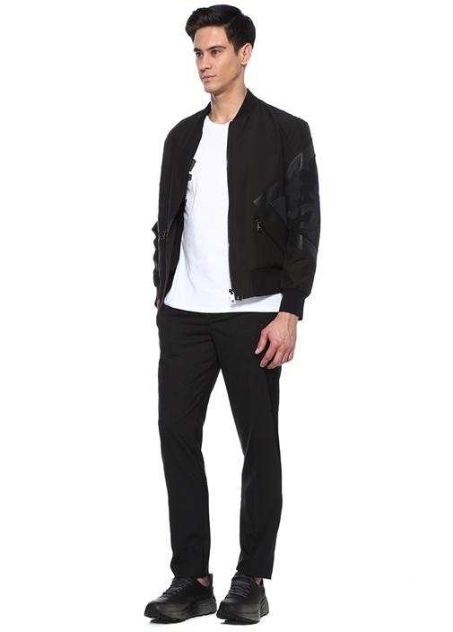 Siyah Normal Bel Şerit Garnili Smokin Pantolonu