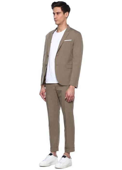 Slim Fit Bej Kırlangıç Yaka Takım Elbise