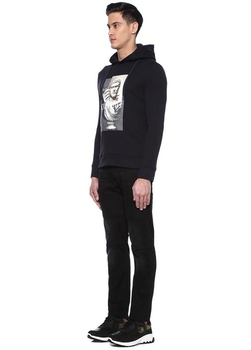 Siyah Normal Bel Diz Detaylı Jean Pantolon