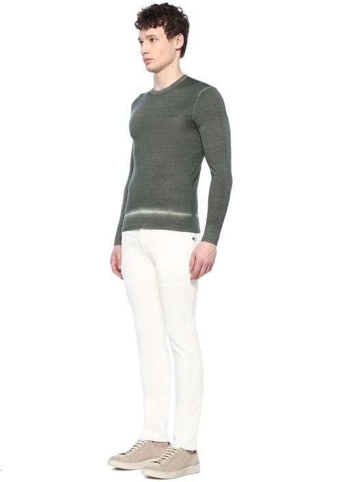 Skinny Fit Beyaz Nervür Detaylı Jean Pantolon