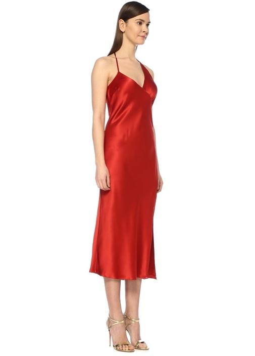 Kırmızı V Yaka Asimetrik Midi İpek Saten Elbise