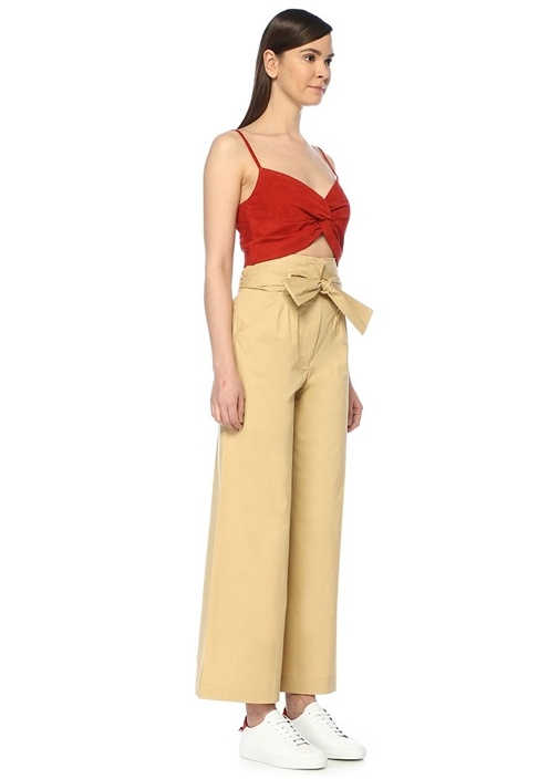 Kırmızı V Yaka Önü Düğüm Detaylı Crop Süet Bluz