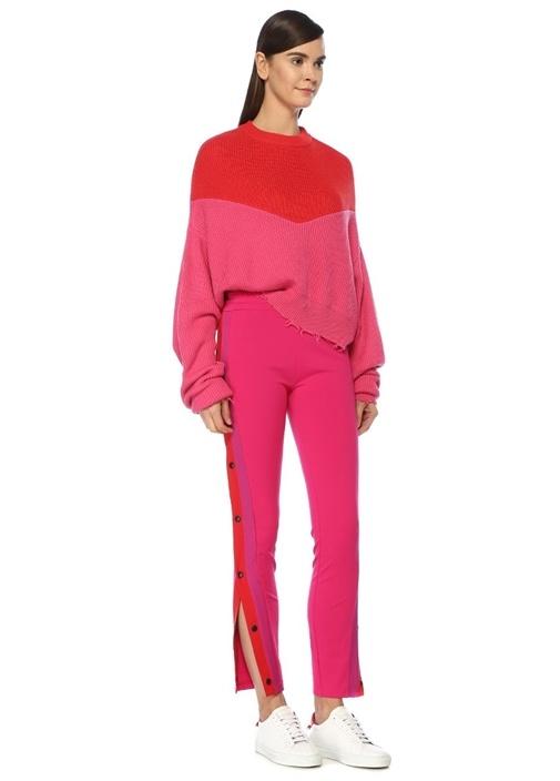 Skinny Fit Pembe Kırmızı Çıtçıt DetaylıPantolon