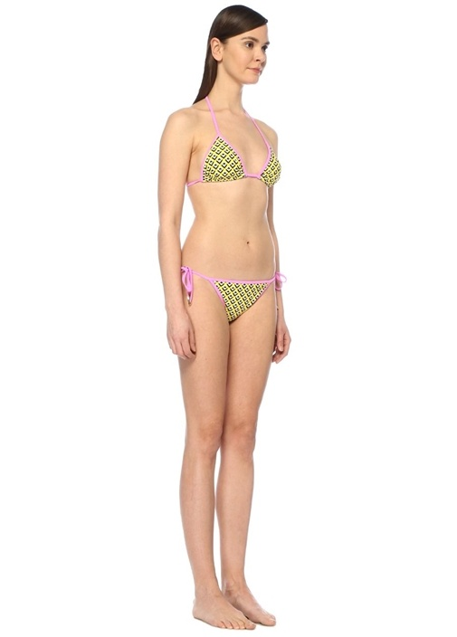 Kate Sarı Geometrik Desenli Üçgen Bikini Altı