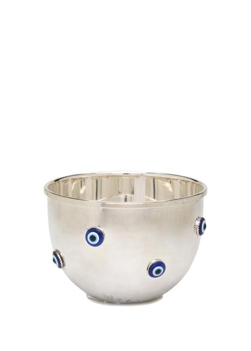 Silver Nazar Boncuklu Gümüş Kaplama Dekoratif Kase