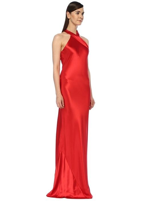 Pandora Kırmızı Maksi İpek Saten Abiye Elbise