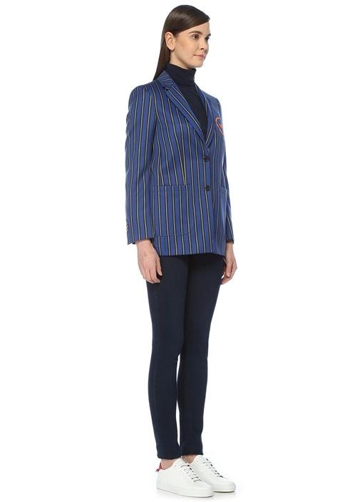 Mavi Kelebek Yaka Çizgili Nakışlı Yün Blazer Ceket