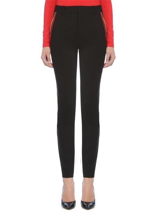Siyah Yüksek Bel Şeritli Dar Paça Yün Pantolon