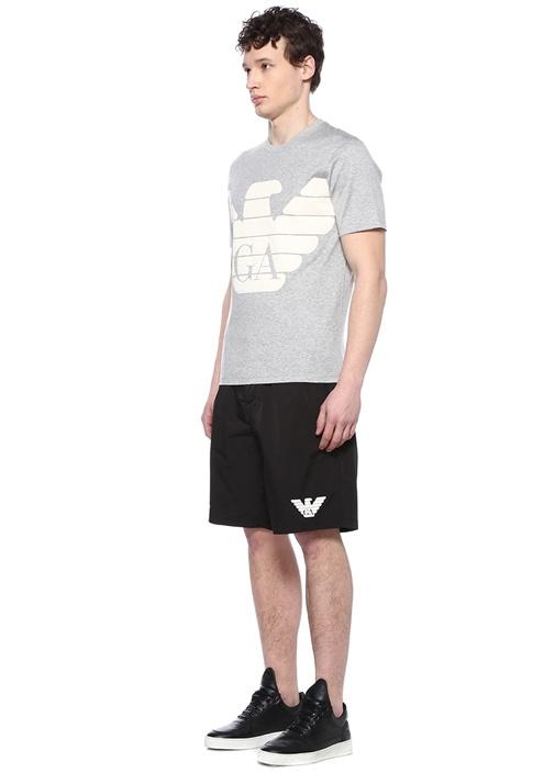 Gri Melanj Bisiklet Yaka Kabartmalı Logolu T-shirt