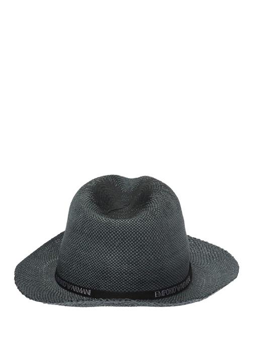 Gri Logo Şeritli Erkek Hasır Şapka