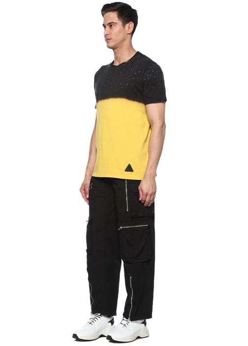 Siyah Sarı Taş İşlemeli T-shirt