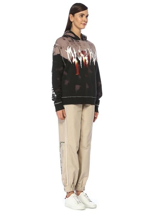 Siyah Kapüşonlu Baskılı Batik Desen Sweatshirt