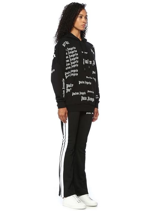 Siyah Beyaz Logo Baskılı Kapüşonlu Sweatshirt
