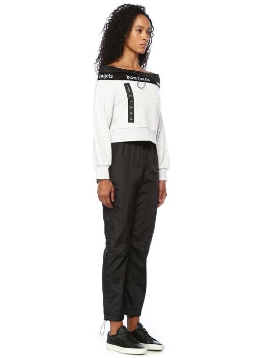 Gri Kayık Yaka Büzgülü Logo Bantlı Sweatshirt