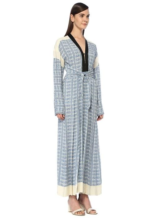 Mavi V Yaka Şal Desenli Önü Bağcıklı Maksi Elbise