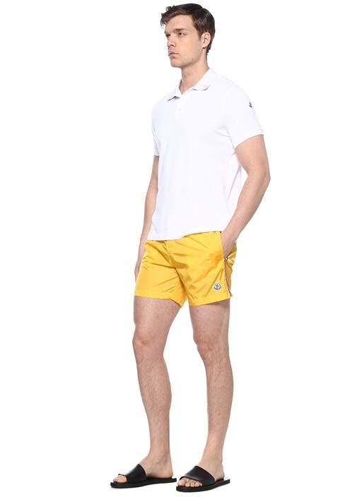 Sarı Logolu Yanları Şerit Detaylı Mayo