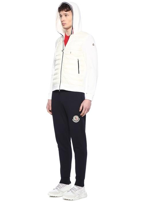 Beyaz Kapüşonlu Kapitone Detaylı Sweatshirt