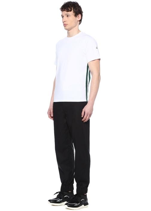 Beyaz Bisiklet Yaka Kenarı Şeritli Basic T-shirt