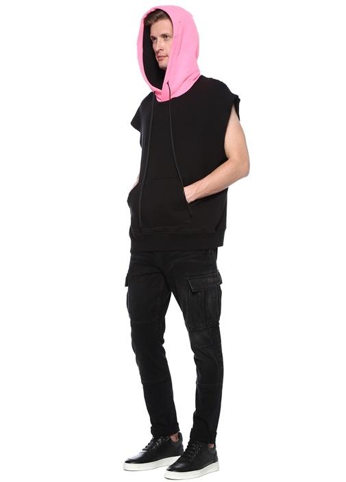 Colorblocked Yıpratmalı Kolsuz Sweatshirt