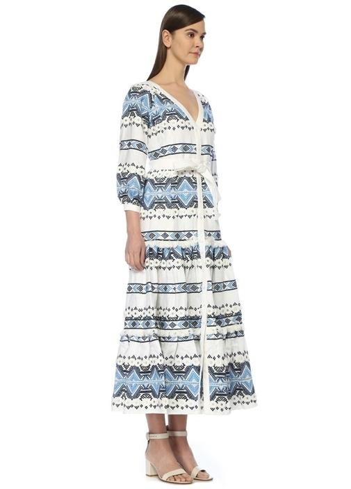 Wylla Mavi Beyaz V Yaka Nakışlı Maksi Keten Elbise