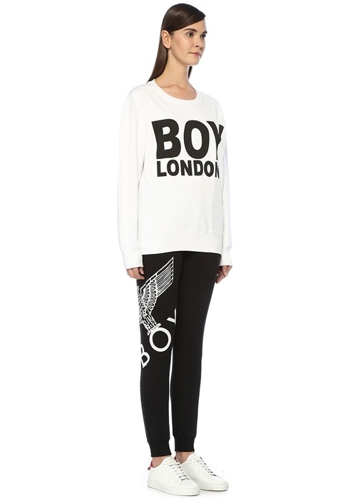 Boy London Beyaz Siyah Baskılı OversizeSweatshirt