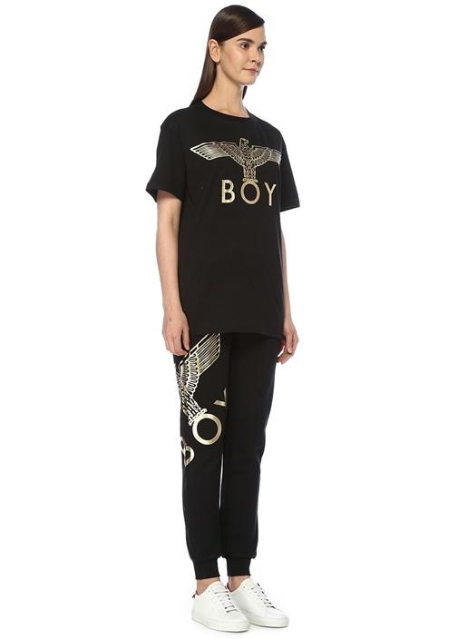 Boy Eagle Siyah Gold Baskılı Oversize T-shirt