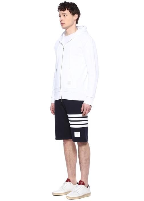 Beyaz Kapüşonlu Logo Şeritli Sweatshirt