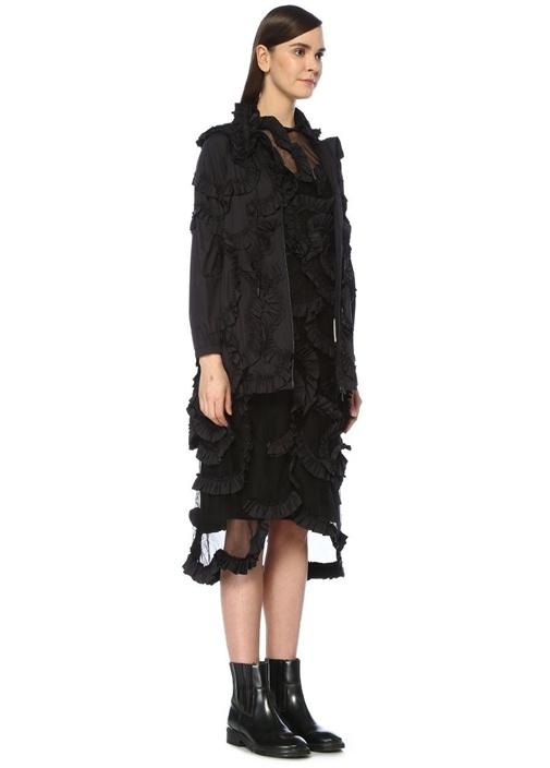 Genius 4 Simone Rocha Siyah Çiçekli Midi Elbise