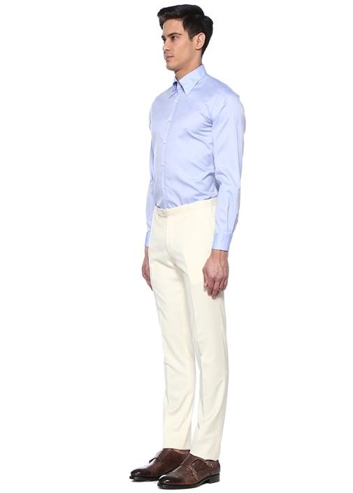 Beyaz Normal Bel Yün Pantolon