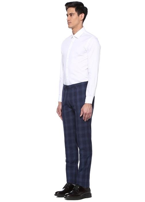 Lacivert Ekose Desenli Yün Pantolon