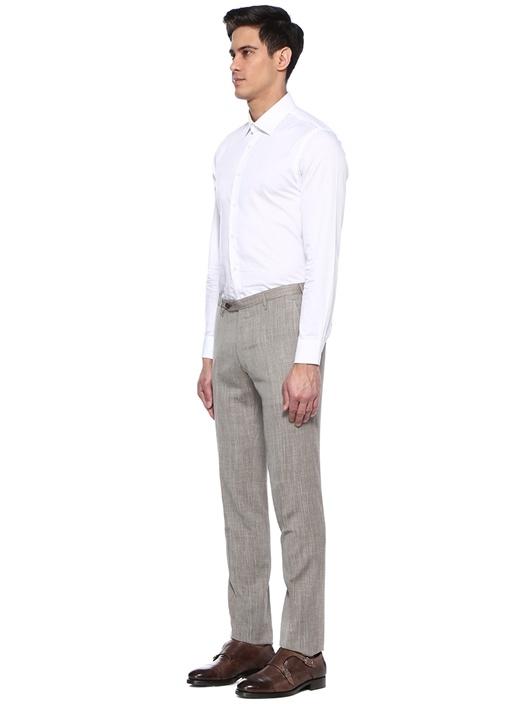 Kahverengi Gri Kareli Yün Pantolon
