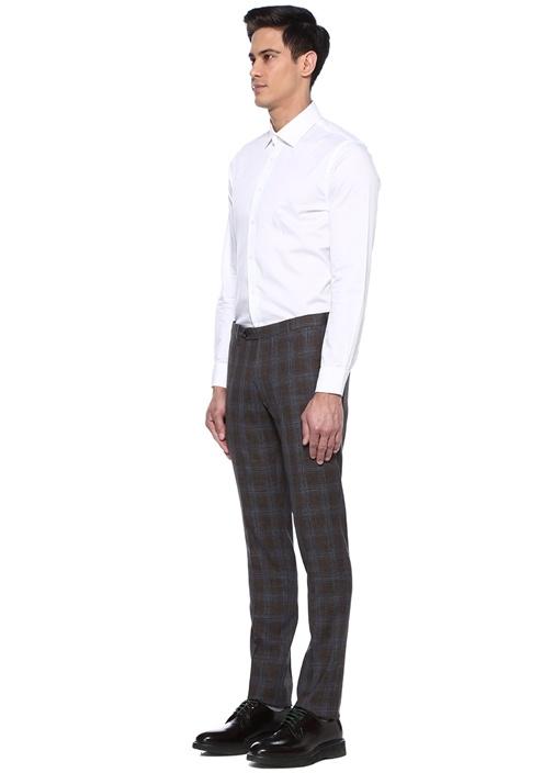 Kahverengi Lacivert Kareli Yün Pantolon