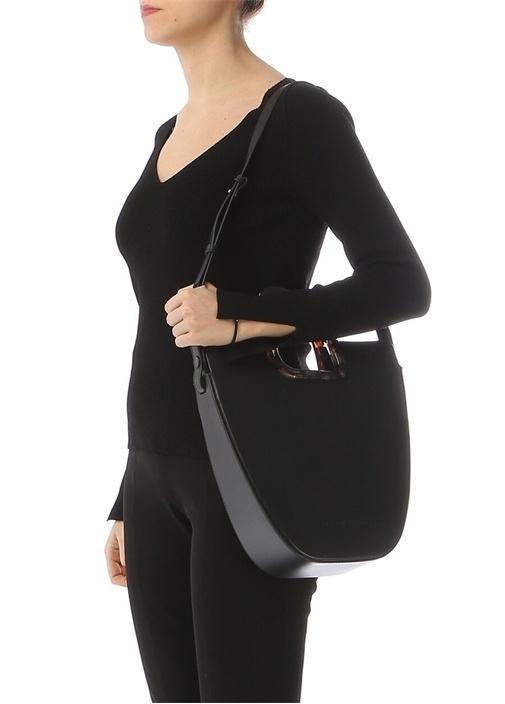 Ourea Siyah Kulp Detaylı Deri AlışverişÇantası