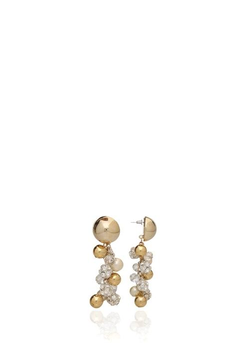 Orlay Beyaz Gold Taş Detaylı Kadın Sallantılı Küpe