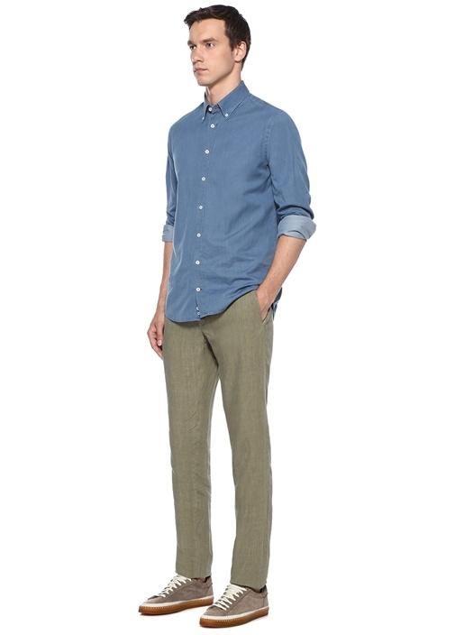 Haki Normal Bel Keten Pantolon