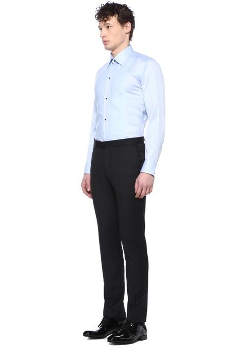 Slim Fit Mavi İngiliz Yaka Garnili Gömlek