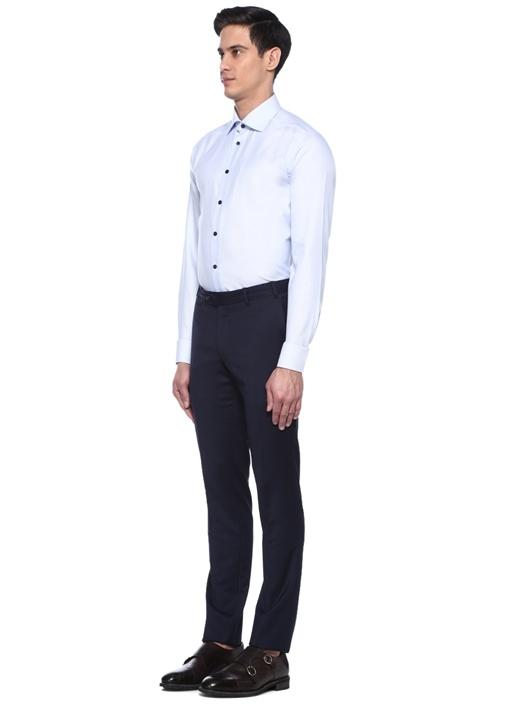 Slim Fit Mavi Mikro Desenli Gömlek