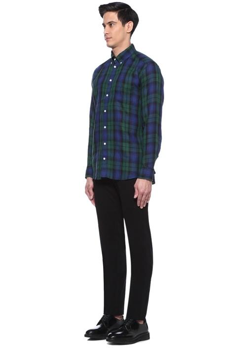 Slim Fit Yeşil Lacivert Kareli Keten Gömlek
