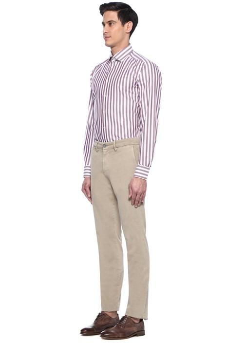 Slim Fit Beyaz Kırmızı Çizgili İngiliz Yaka Gömlek