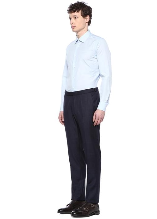 Slim Fit Drop 6 Lacivert Silik Kareli Yün Pantolon